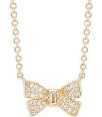 14k yellow gold diamond bow pendant necklace