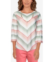 alfred dunner women's missy springtime in paris chevron stripe top with necklace