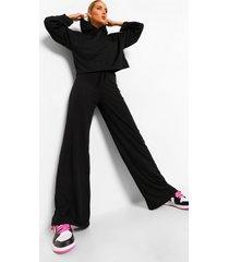 geribbelde hoodie met wijde mouwen en wide leg broek set, black