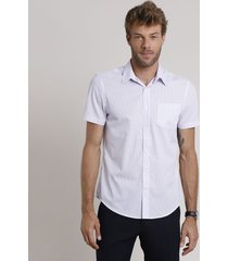 camisa social masculina comfort listrada com bolso manga curta lilás