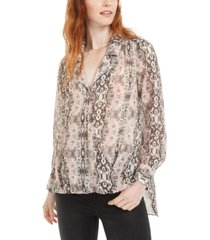 bar iii high-low printed top, created for macy's