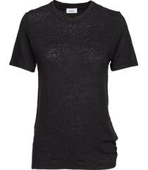 ninja linen t-shirts & tops short-sleeved zwart rodebjer