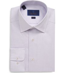 men's big & tall david donahue slim fit micro print dress shirt, size 17 - 36/37 - pink