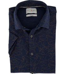 cast iron overhemd korte mouwen donkerblauw