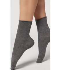 calzedonia non-elastic cotton ankle socks woman dark grey size 39-41