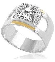 anel de prata com filete de ouro e zircônia quadrada