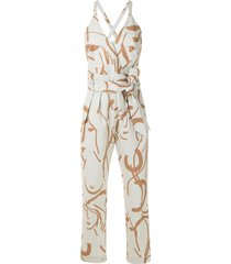 andrea marques printed paperbag waist jumpsuit - neutrals