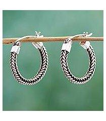 sterling silver hoop earrings, 'double braid' (mexico)