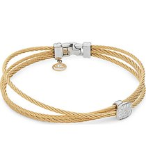 18k white gold, yellow-tone stainless steel & diamond cable bracelet