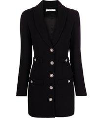 alessandra rich decorative-button slim-cut dress - black