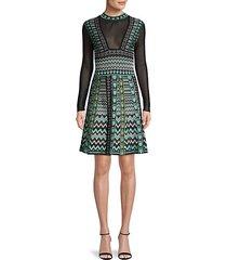 intarsia knit tunic flare dress