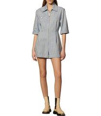 women's sandro cotton & linen blend romper, size 4 us - blue