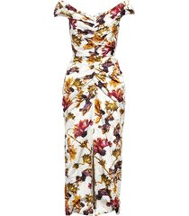 women's jason wu collection ruched floral print washed sateen dress, size 2 - white