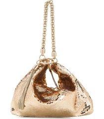 jimmy choo callie sequin-embellished clutch bag - gold