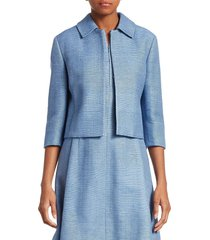 akris punto women's raw silk cropped jacket - dark sky - size 2