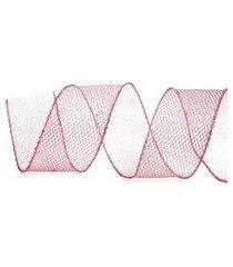 fita natalina para laço 6,3 cm x 9,14 metros rede cor rosa