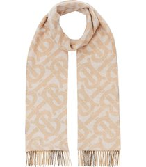 burberry reversible check and monogram scarf - brown