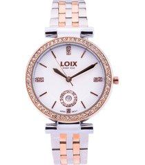reloj dama marca loix -  ref l 1151-04 - dos tonos