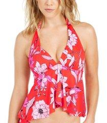 bar iii floral-print ruffled halter tankini top, created for macy's women's swimsuit