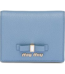 miu miu embellished bow wallet - blue