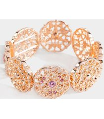 iyanna crystal filigree stretch bracelet - pink