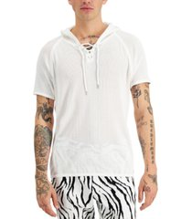 inc men's knit mesh short sleeve hoodie, created for macy's