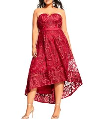 plus size women's city chic embroidered attraction high/low cocktail dress, size x-small - red