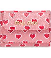 miu miu heart printed madras wallet - pink