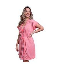 camisola amamentaçáo com robe bella fiore modas rosa