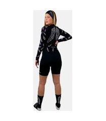macaquinho ciclismo feminino hupi asas manga longa