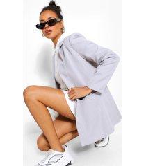 tailored pinstripe contrast button blazer, grey