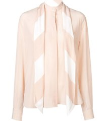 neck tied blouse neutral
