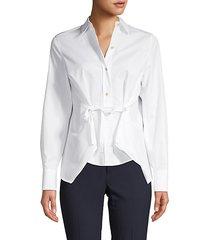 tie-front cotton shirt