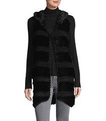 knitted rabbit fur hooded vest