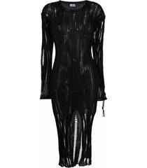 diesel open-knit destroyed midi dress - black