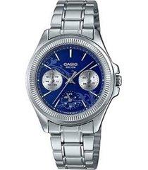 reloj analógico mujer casio ltp-2088d2a1 cronógrafo - plateado con azul
