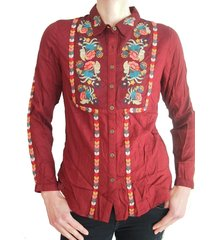 md 'm bordeaux wijnrode blouse met borduringen
