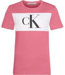 camiseta manga corta blocking monogram ck t-shirt rosa calvin klein