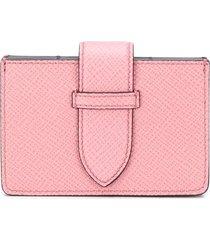 smythson panama concertina card case - pink