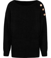 gebreide trui met knopen zwart