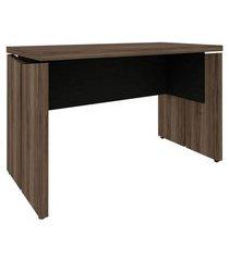mesa de escritório land nogal e preta 120 cm