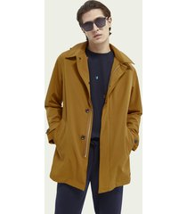 scotch & soda stretch trench coat with removable hood