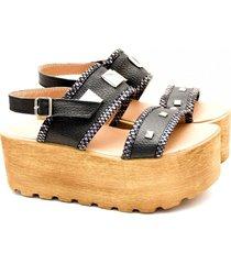 sandalia de cuero negra valentia calzados feli