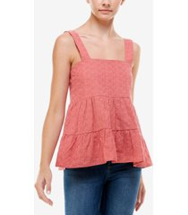 q & a cotton eyelet babydoll top