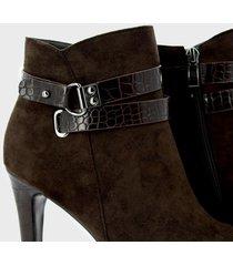 botines para mujer marca via spring color negro via spring - marrón