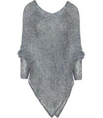sweter ponczo mgła szary ciemny