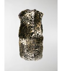 stella mccartney faux fur sleeveless coat