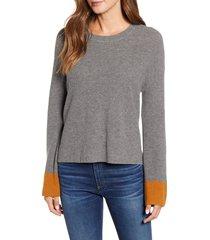 women's velvet by graham & spencer colorblock cuff wool & cotton sweater