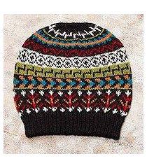 100% alpaca knit hat, 'motif medley' (peru)