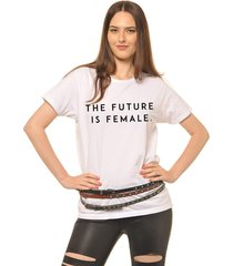 blusa joss future is female branca